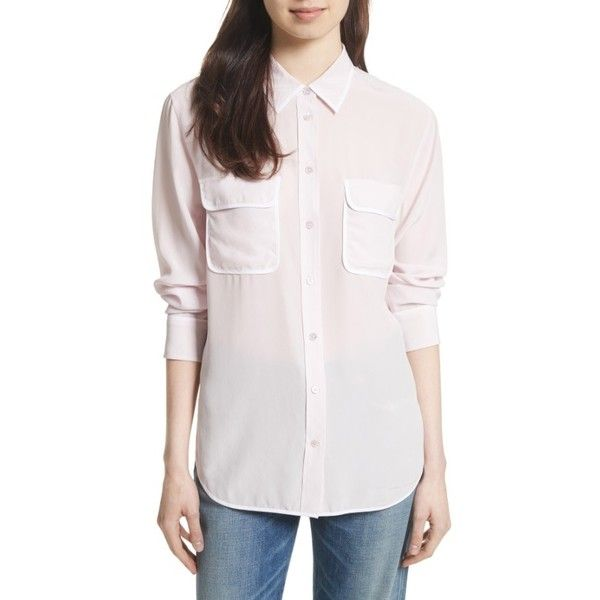 Women's Equipment Signature Silk Shirt ($228) ❤ liked on Polyvore featuring tops, pink frost, pink collared shirt, long sleeve collar shirt, white shirt, lightweight long sleeve shirt and white silk top