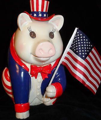 "Patriotic Uncle Sam Giant 14"" Ceramic Pig Piggy Bank By Mud Pie 2001"