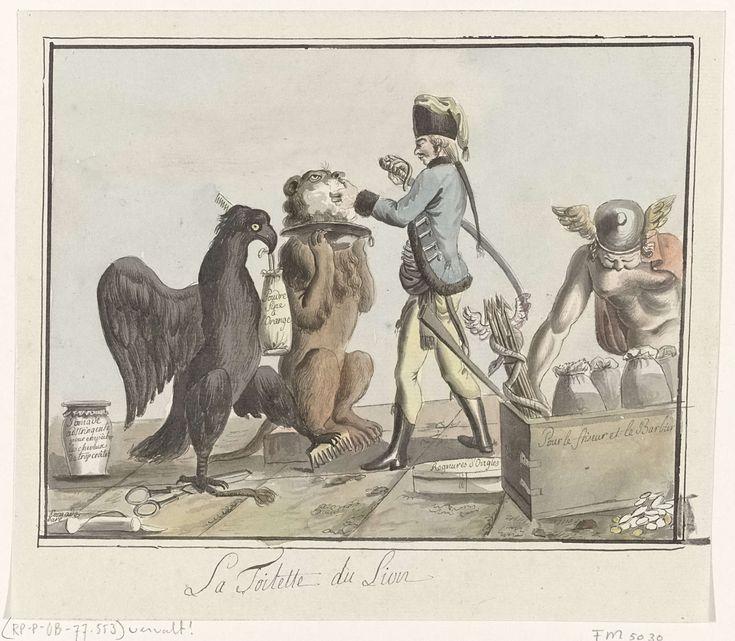 Anonymous | De Nederlandse Leeuw wordt geschoren, 1787, Anonymous, 1787 | Spotprent op de gratificatie van 500.000 gulden aan de Pruisische Legermacht op 30 oktober 1787 door de Staten van Holland geschonken. De Leeuw wordt door een Pruis ingezeept om geschoren te worden met de sabel, terwijl de Pruisische adelaar de poot op de kam en de schaar houdt en in zijn bek een zak met 'poudre fine a l'Orange' heeft. Rechts neemt Mercurius een geldkist met geldzakken en de zeven pijlen van de…