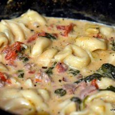 Fall staple that even my husband loved!- Crockpot Cheese Tortellini and Sausage. 1 (19 oz.) bag frozen cheese tortellini 1 lb. sausage (I prefer Italian) 1 bag fresh spinach 2 cans Italian style diced tomatoes 2 cans low-fat chicken broth 1 (8 oz.) cream cheese.