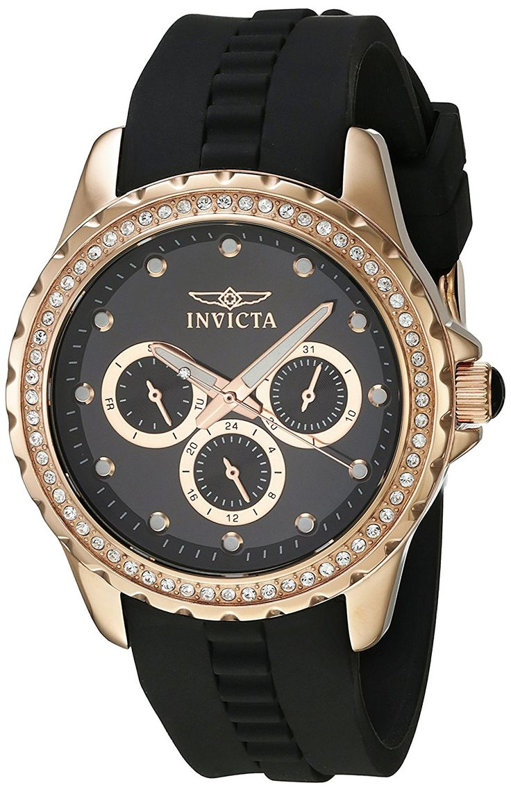 Invicta Women's 21902 Angel Quartz Chronograph Black Dial Watch * You can find out more details at the link of the image.