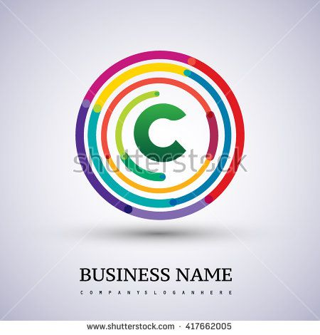 Letter C vector logo symbol in the colorful circle thin line. Vector design template elements for your application or company identity. - stock vector