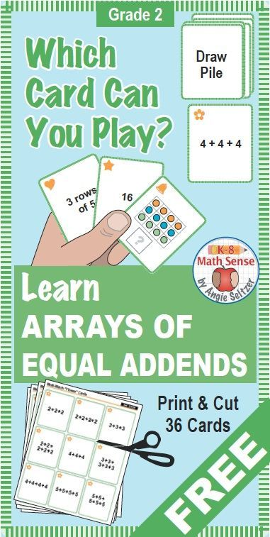 This set of printable cards for Grade 2 will help students learn about arrays, important for multiplication in Grade 3. The set comes with instructions for a matching activity and four fun games to play. These math cards are perfect to use in a math cente