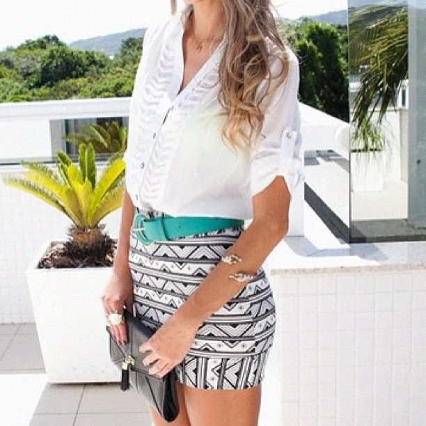 Love This Tribal Skirt Paired With The Loose White Button Down Belt Pulls It All Together
