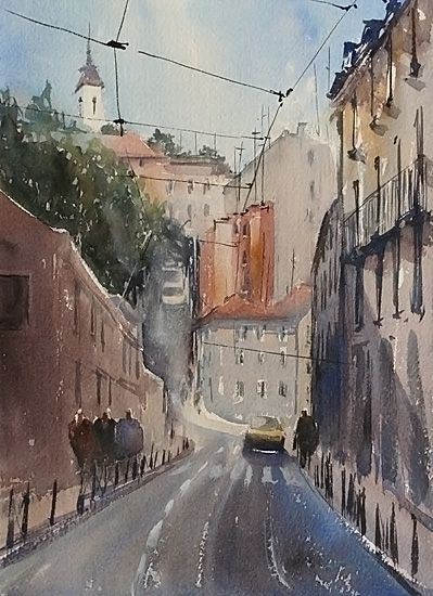 Lisbon, Portugal III by Keiko Tanabe Watercolor ~ 11 1/2 x 8 1/4 inches (29 x 21 cm)