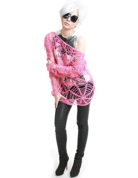material: 100% acrylic (vegan-friendly) free size: one size fits all (adult) gender: unisex color: bubblegum pink label: RTBU    * hand-knitted mohair cobweb crochet sweater * slouchy loose fitting. * off shoulder * unisex style * super lightweight and soft. wont scratch skin * dry clean only * great for showing tatoos    measurements (unstretched): (knit is stretchy) neck opening: 28 bust: 40 back length: 23 sleeve inseam (armpit to cuff): 20    cleaning instruction: dry clean or hand wash…