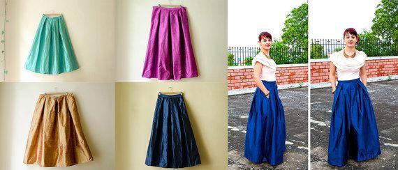 Yellow Maxi Skirt Silk Taffeta Long Evening by karmologyclinic