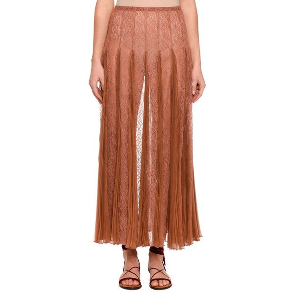 Valentino Pleated Chiffon Lace Maxi Skirt ($1,992) ❤ liked on Polyvore featuring skirts, beige, women's apparel skirts, high waisted floral maxi skirt, high waisted pleated skirt, pleated chiffon maxi skirts, long lace skirt and pleated maxi skirt
