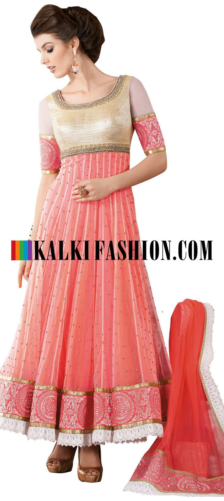 Buy Online from the link below. We ship worldwide (Free Shipping over US$100) http://www.kalkifashion.com/peach-anarkali-suit-with-embroidered-neckline.html Peach anarkali suit with embroidered neckline