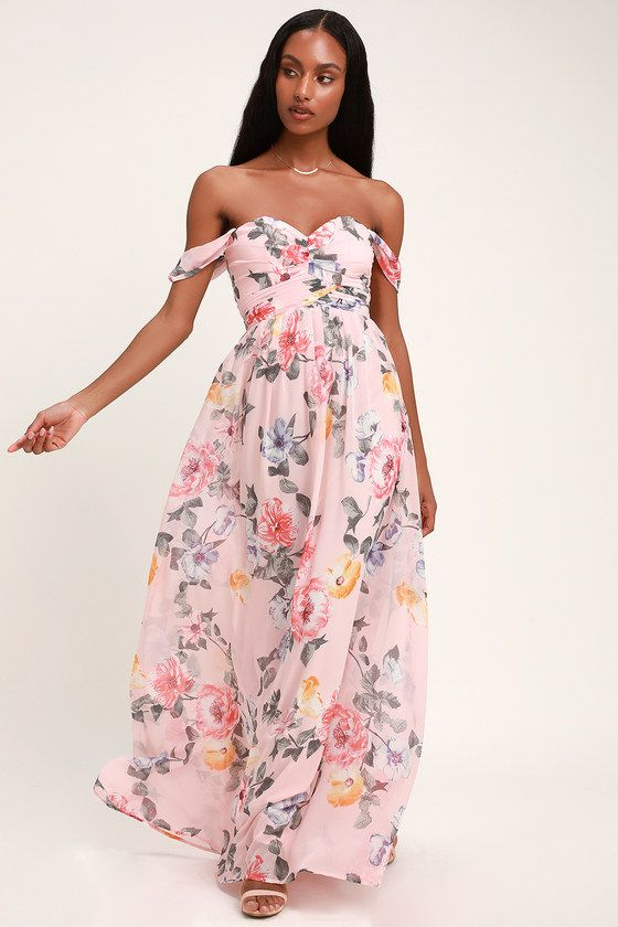 341946a7ce1 Set the romantic mood in the Lulus Harmonious Love Blush Floral Print  Off-the-Shoulder Maxi Dress! This stunning maxi dress is shaped from elegant  floral ...
