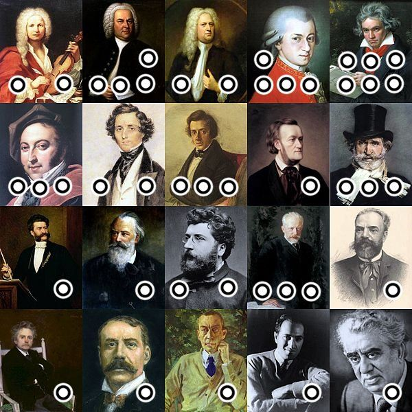 Image of composers linked to their most popular composition!!