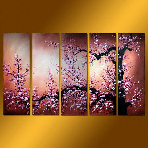 GFL5001  5-PCS Group Oil Painting, i like the simplicity of the idea yet it has complex detail, nice color choices,