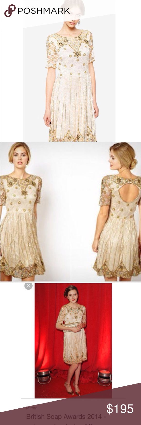 """Frock and Frill Embellished Lace Slater Dress Frock and Frill Embellished Lace Slater Dress in size 14, gold color. Garment has been embellished by hand. Very beautiful dress. Brand new with tag it's just at the back has some missing beads pls see photo. Pit to pit 19"""", length 38"""". Frock and Frill Dresses Midi"""