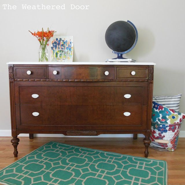 A Dark Wood Dresser With A White Top Repurposed Furniture Wood