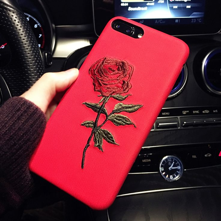 Hot Sale! Elegant Embroidery Rose Flower phone Case for iPhone 6 /6S /Plus Light Women Stylish Art Vintage phone Back Cover PTC 292 //Price: $15.95 & FREE Shipping //     #fashion