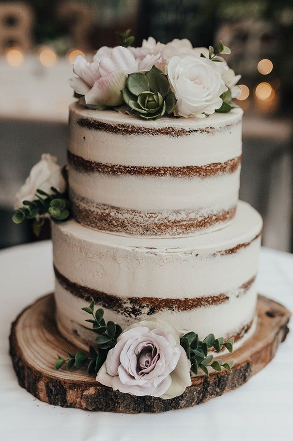 Naked wedding cake simple flowers less without icing