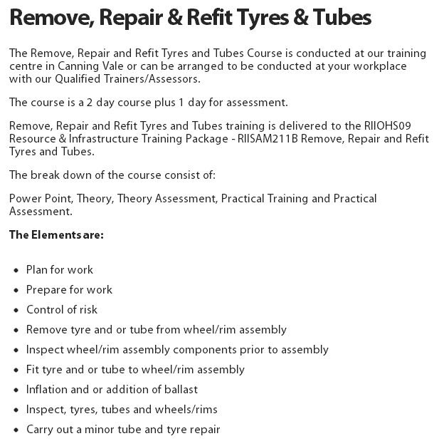Remove, Repair & Refit Tyres & Tubes