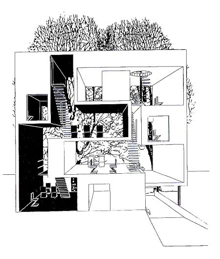 elevation section of a double house in Utrecht designed by MVRDV at 1995
