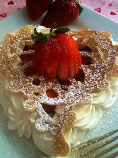 Lacy French Vanilla Pancakes with Strawberries and Chantilly Cream