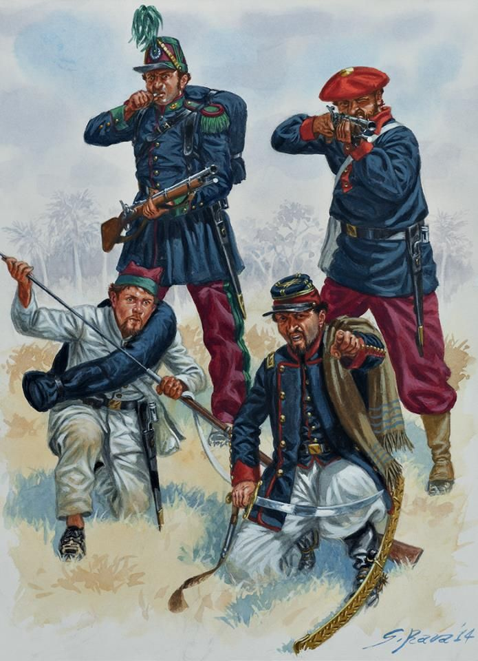 URUGUAYAN aRMY 1:Fusilier,Infantry Battalion Florida,1865.2:Infantryman campaign dress,1866.3:Fusilier,Inf Bn Voluntarios de la Libertad,1865.4:Major,Cav Regiment Soriano,1865