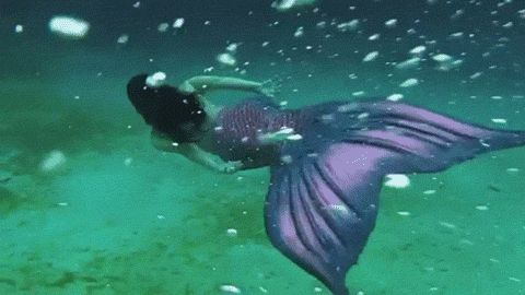 ocean animated GIF.... purple tailed, black haired mermaid!!! this could be me!!! :D :D