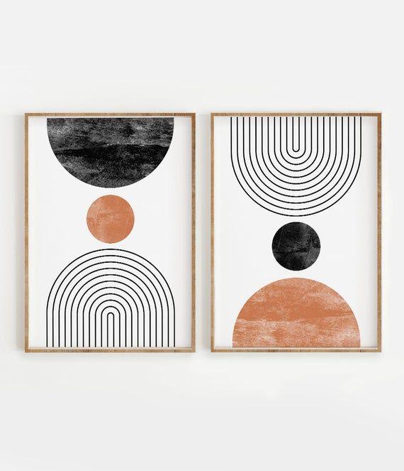Mid Century Modern Wall Art Print Set Of 2 Neutral Abstract Geometric Digital Download Prints Black White Orange Minimal Gallery Art In 2020 Art Print Set Minimal Wall Art Mid Century Modern Walls