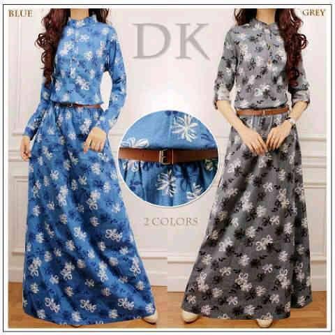 Jual baju wanita muslim denim maxi S436