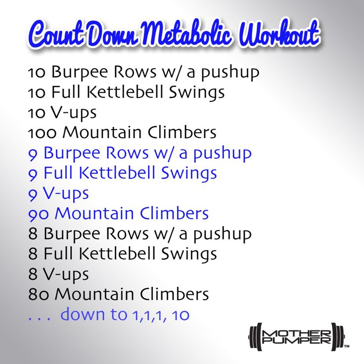Countdown Metabolic Workout Shoulders, Chest, Back, Core, and Cardio Quick, Challenging, Metabolic Circuit