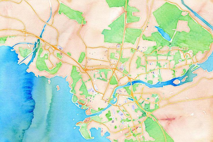 Joensuu map in watercolor