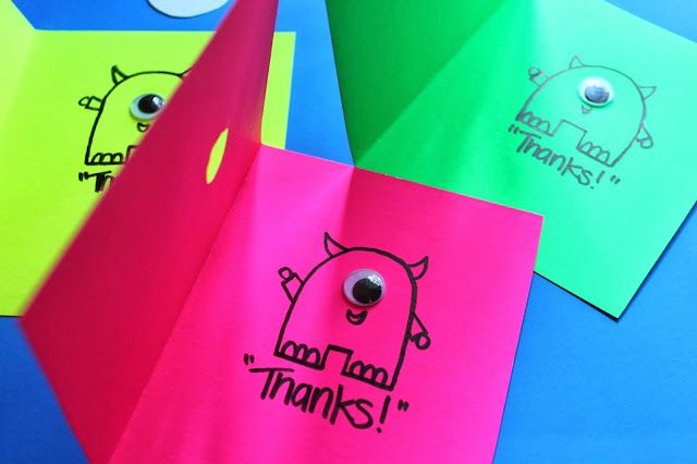 Neon silly monster birthday party thank you notes.