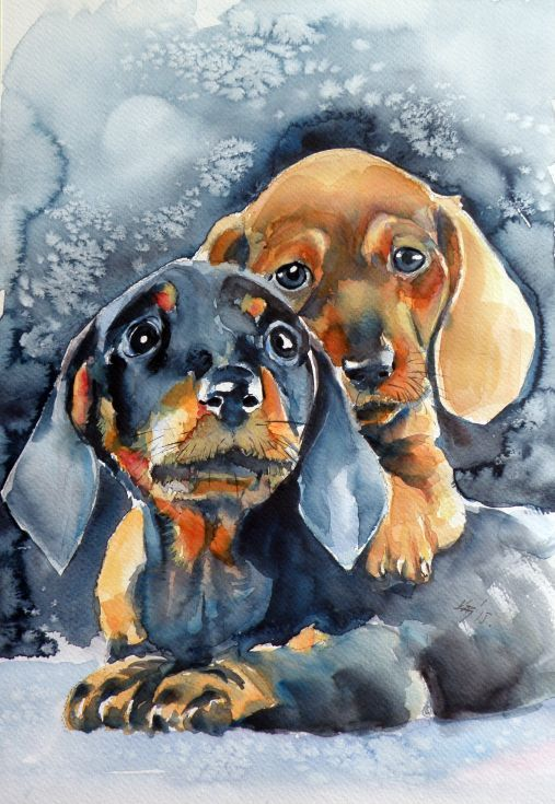 ARTFINDER: Sweet little dogs by Kovács Anna Brigitta - Original watercolour painting on high quality watercolour paper. I love landscapes, still life, nature and wildlife, lights and shadows, colorful sight. Thes...