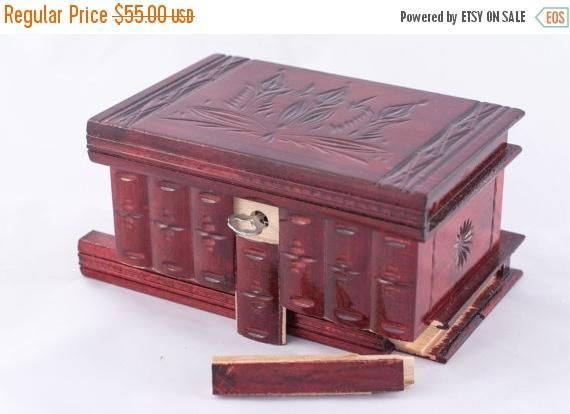Cherry Red Wooden Large Puzzle Jewelry Box w/ Hidden