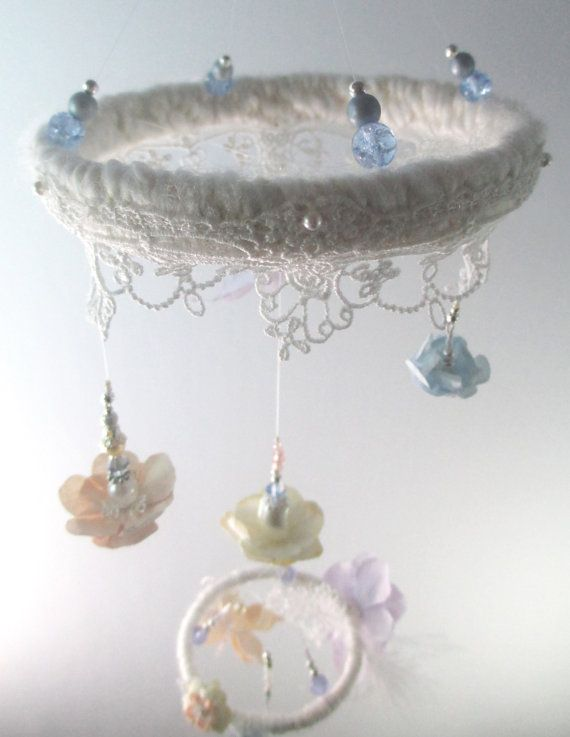 "Pastel Elegant Baby Girl Mobile ""New Dawn"" petite Victorian inspired by ALT ART STUDIO.  I used Venetian style lace and a muted palette of lavender, powder blue, soft peach and golden cream to create a delicate and expressly feminine mobile, the perfect fit  for a dreamy baby girl nursery."