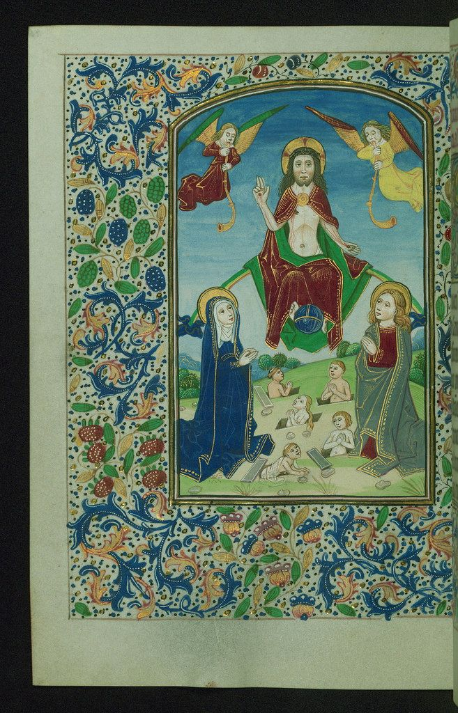 Book of Hours Last Judgement Walters Manuscript W.195 fol. 76v by Walters Art Museum Illuminated Manuscripts
