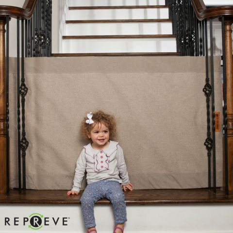 Khaki Fabric Wall to Banister Safety Gate