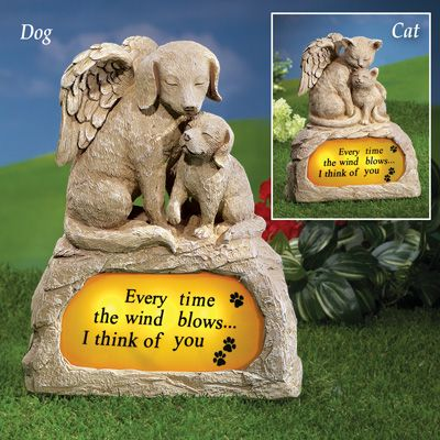 Angel Pet Memorial Stone With Solar Light