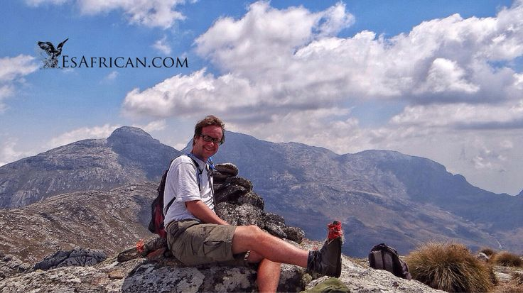 This climber (that's me), had to carry out various boot repairs on the way to and from the summit of Dzole on Mulanje Mountain. Behind me you can see Nakodzwe. Sapitwa is obscured by my head. Mount Mulanje.