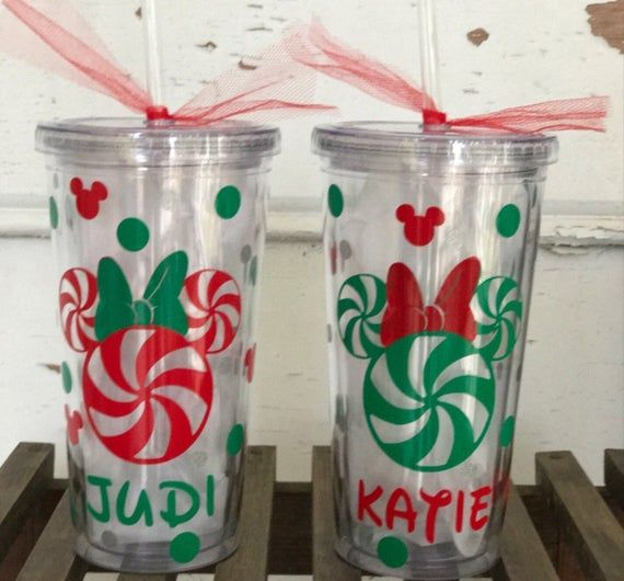 Personalized Santa Mickey or Minnie Inspired Christmas Holiday Kid/'s Customized Reusable Straw Tumbler Cup