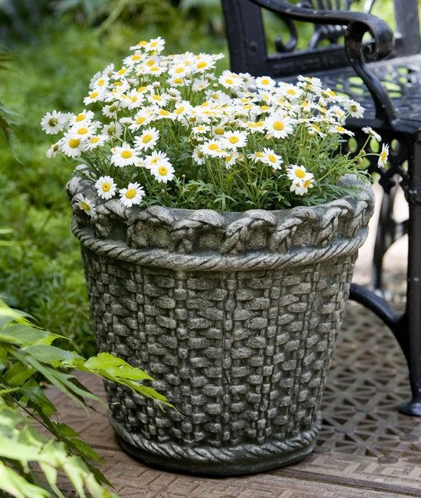 Superior Longwood Basketweave Garden Planter · Stone PlantersGarden PlantersCast ...