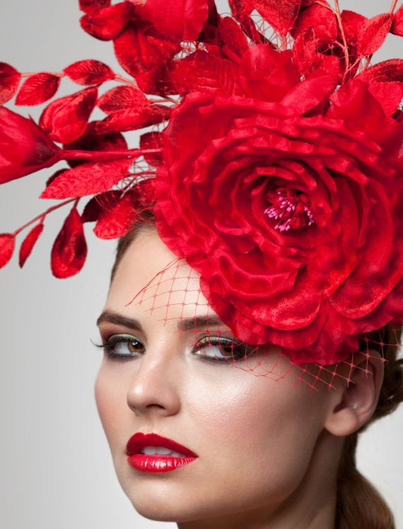 Red FascinatorCocktail Hat Derby Hat Melbourne cup by ArturoRios