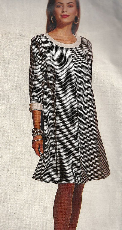 1990s Trapeze Dress Pattern Round Neckline Misses Size by SelmaLee, $7.00