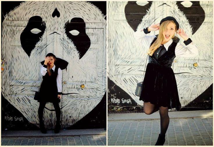 Chic Adicta, fashion blogger, vintage girl, black and white look, vestido kling, botas ulanka, fall hat, moda chicas, trendy girl, fashionista, ootd, Piensa en Chic www.PiensaenChic.com