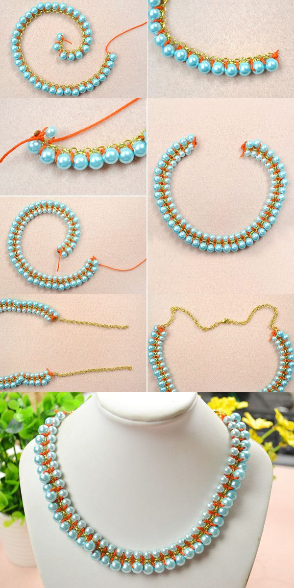 Tutorial for double weave pearl necklace from LC.Pandahall.com