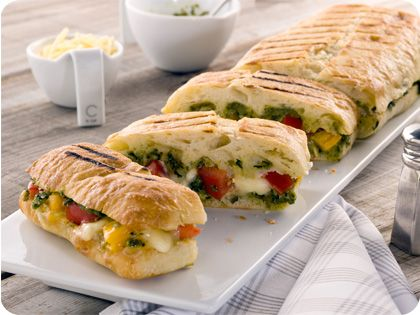Outdoor Grilled Cheese Sandwich with Pesto and Heirloom Tomatoes