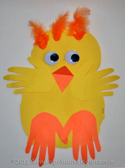 Baby Handprint Chick {Preschool Easter Craft} Thinking of doing the body of the chick in a footprint