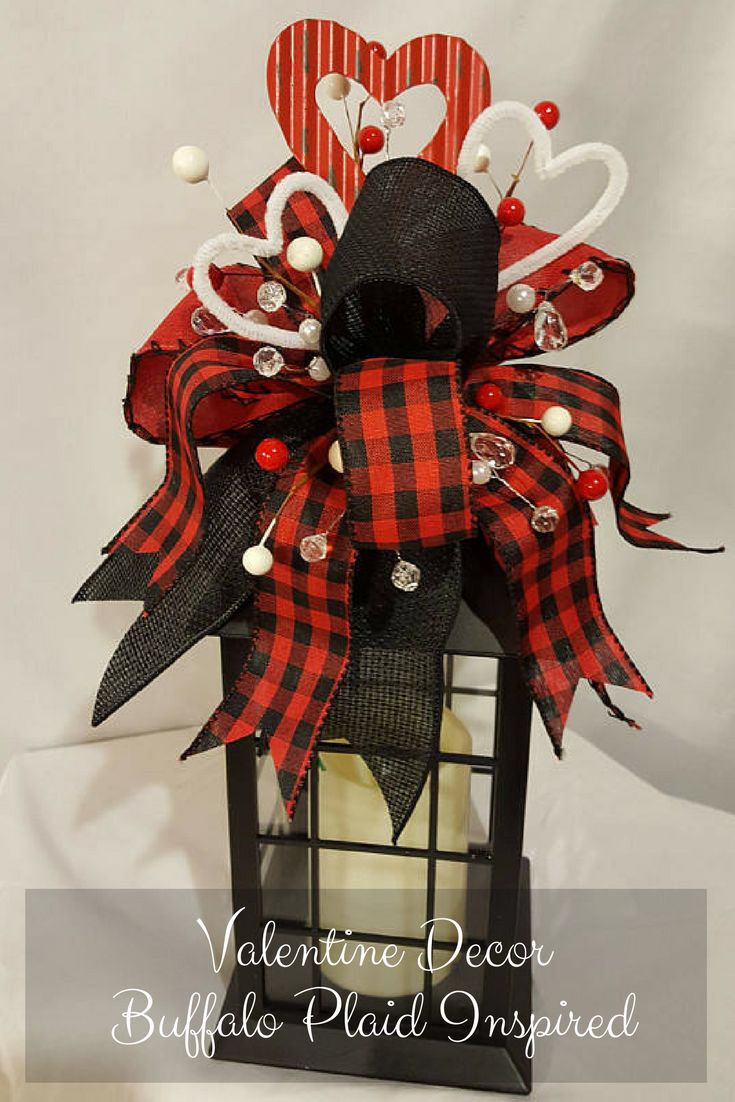 Red Buffalo Plaid isn't just for Christmas. Love this farmhouse Valentine buffalo plaid inspired Lantern. Adorable! Valentine Lantern Swag, Valentines Swag, Valentines Day Decor, Lantern Swag, Valentines Centerpiece, Buffalo Plaid Swag, Buffalo Plaid Decor #Ad #Buffaloplaid #buffalocheck #Valentine #Homedecor