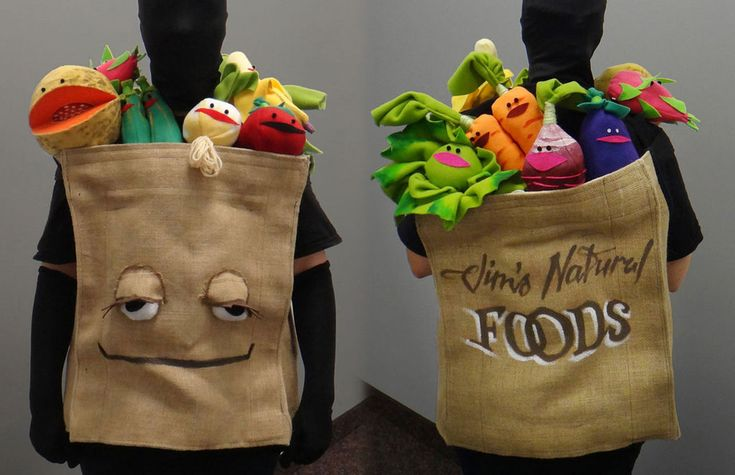 Grocery Bag of Muppet Fruit and Vegetables Costume #Halloween #Jim_Henson #sewing