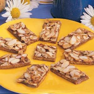 Toffee Crunch made from graham crackers, brown sugar, and almonds in the oven...DELICIOUS...I've also made these with pecans and they are also wonderful....