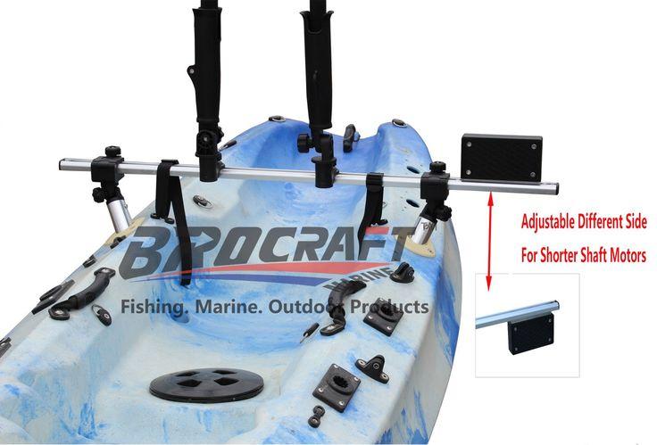 Brocraft Fishing Kayak Trolling Motor Mount Universal + Two Rocket Launching Rod Holder