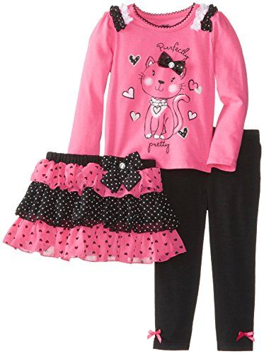 Young Hearts Little Girls' 3 Piece Cat Heart Shirt and Pant Set, Pink, 3T - Click image twice for more info - See a larger selection of little girl skirt sets at http://girlsdressgallery.com/product-category/skirt-sets/ - girls,toddler,little girls clothing, little girls fashion, little girls dress, little girls fashion, baby, gift ideas